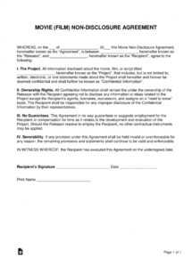 printable movie (film) nondisclosure agreement (nda) template  eforms  free short non disclosure agreement template sample