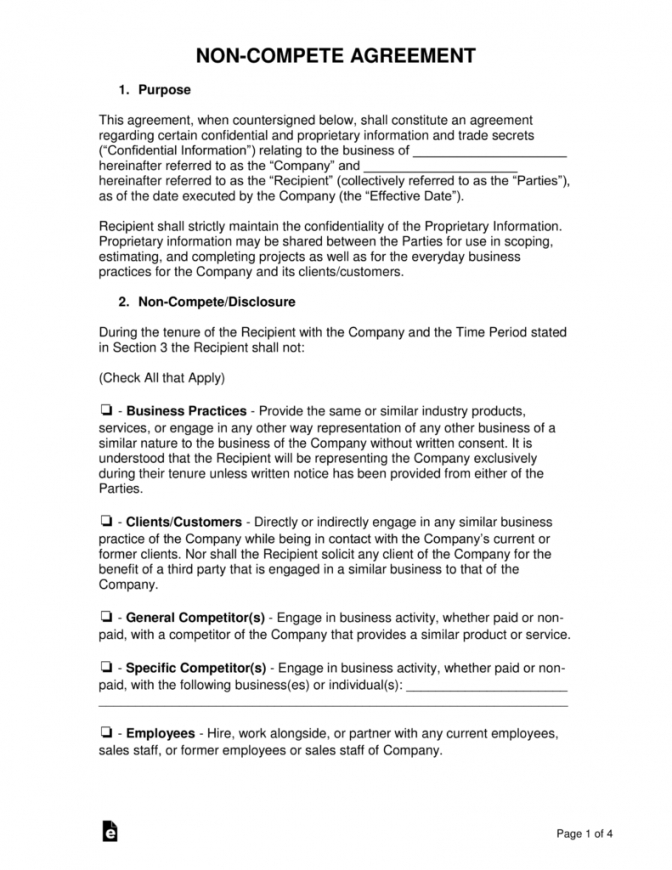printable noncompete agreement templates  eforms  free fillable forms no competition agreement template
