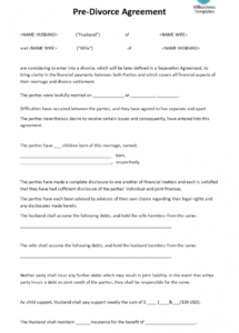 printable predivorce agreement  download this predivorce agreement template separation and property settlement agreement template pdf