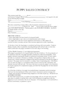 printable puppy sales contract  etaufal pet protection agreement template pdf