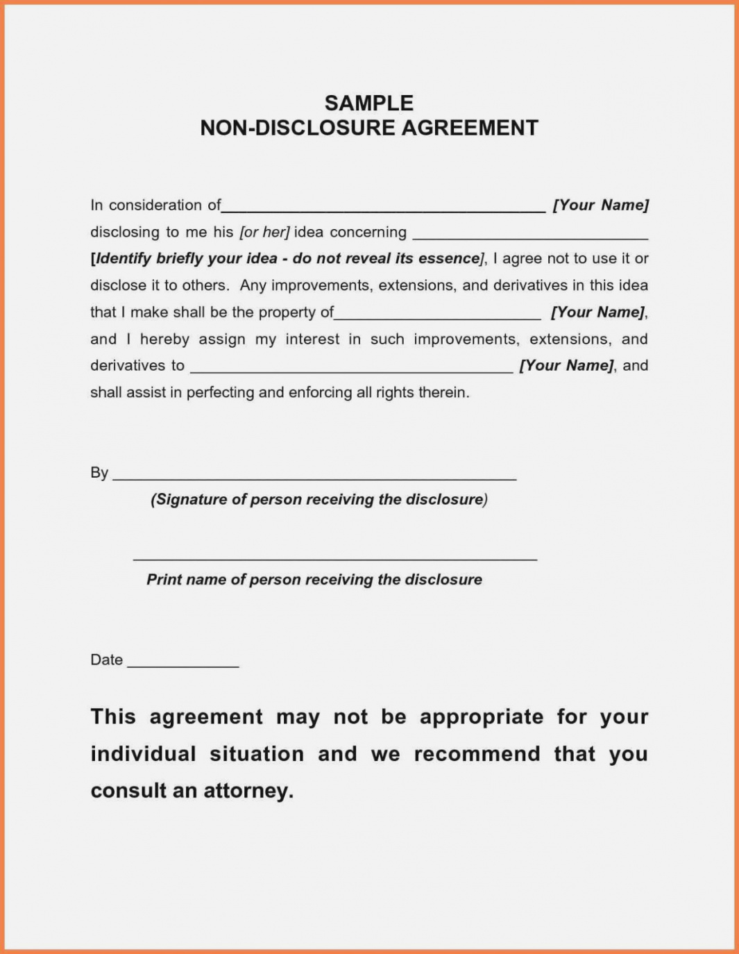 printable short form non disclosure agreement lovely 14 inspirational blank short non disclosure agreement template