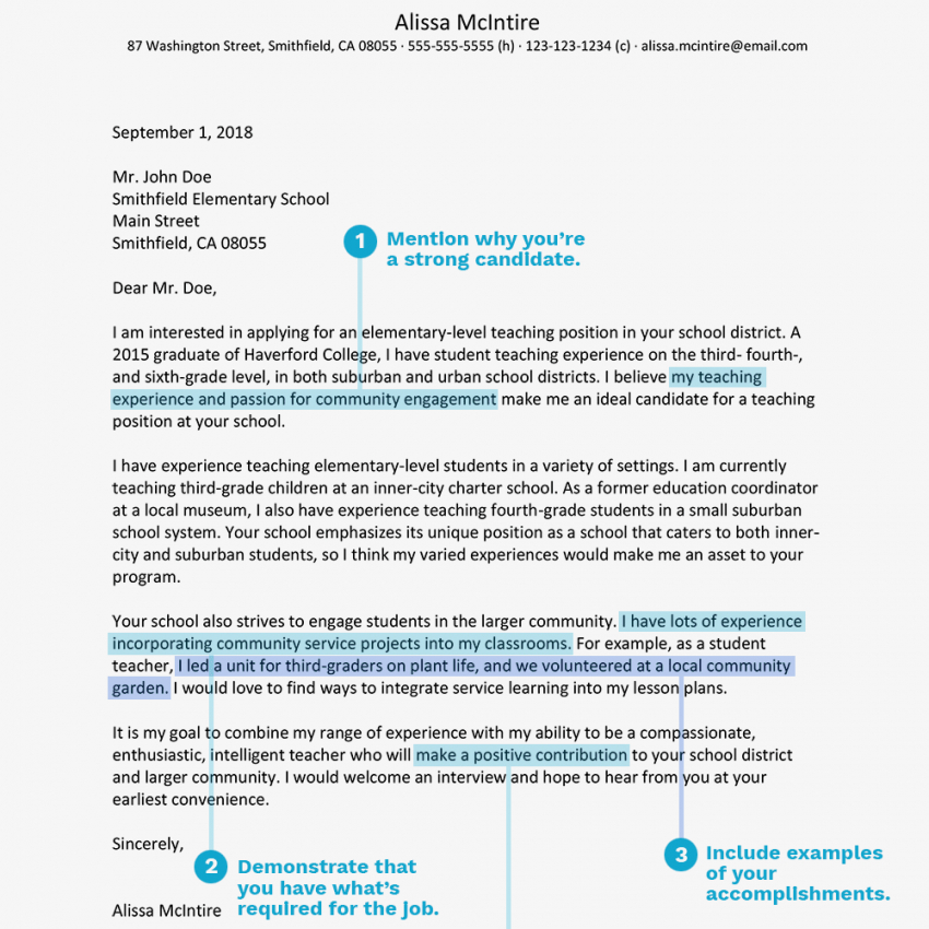 printable teacher cover letter example and writing tips cover letter template teaching position sample