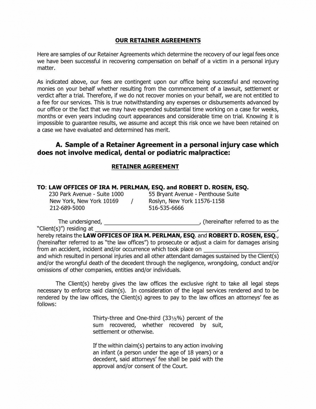retainer fee and compensation agreement letter sample  retainership legal retainer agreement template sample
