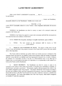 sample printable land trust agreement form  printable real estate land use agreement template pdf