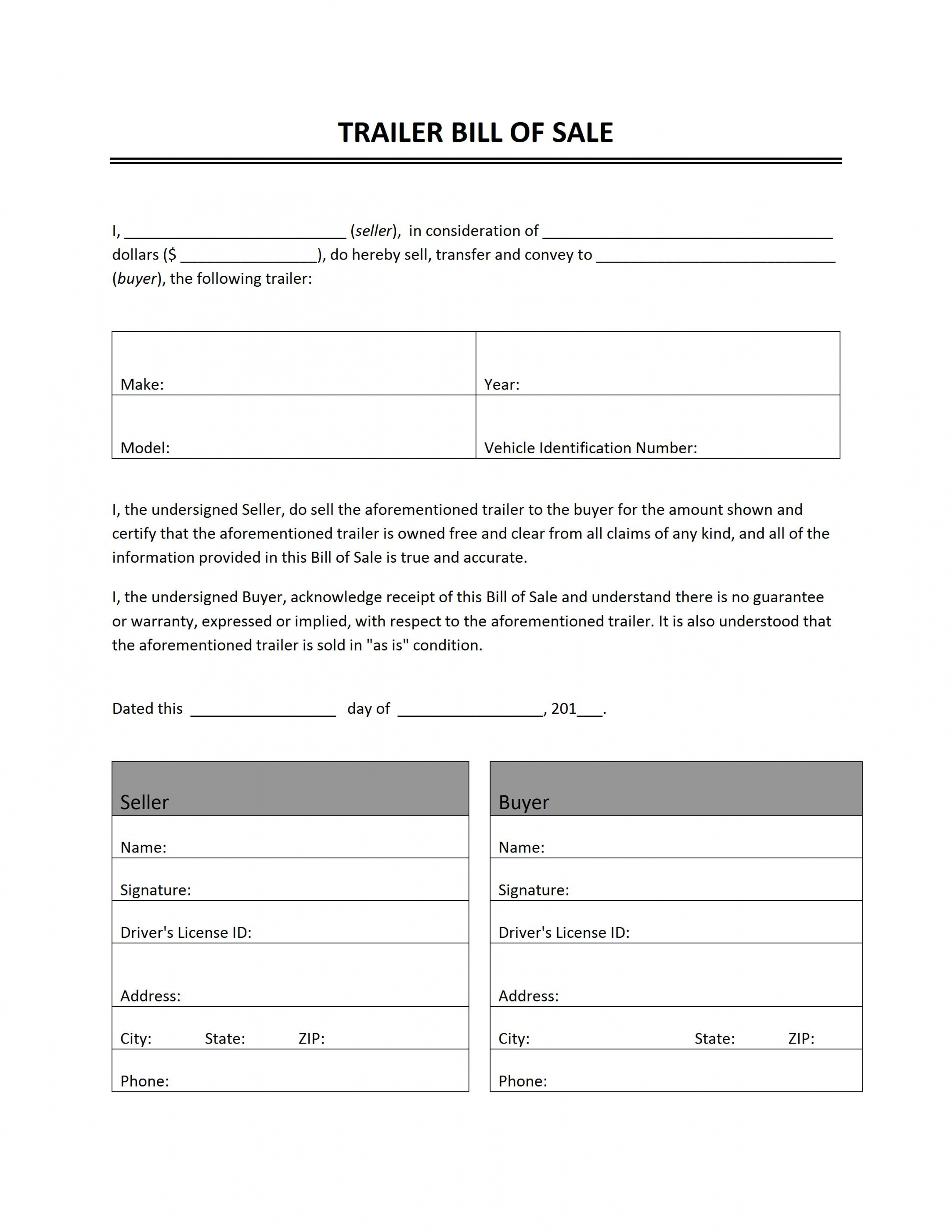 trailer bill of sale boat sale and purchase agreement template example