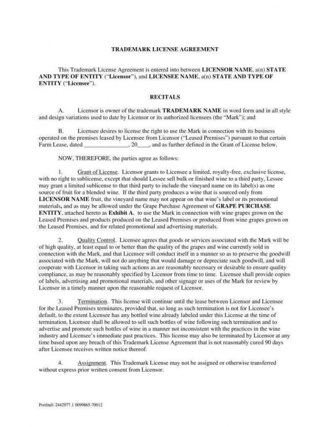 editable 8 trademark license agreement templates  pdf  free trademark license agreement template doc