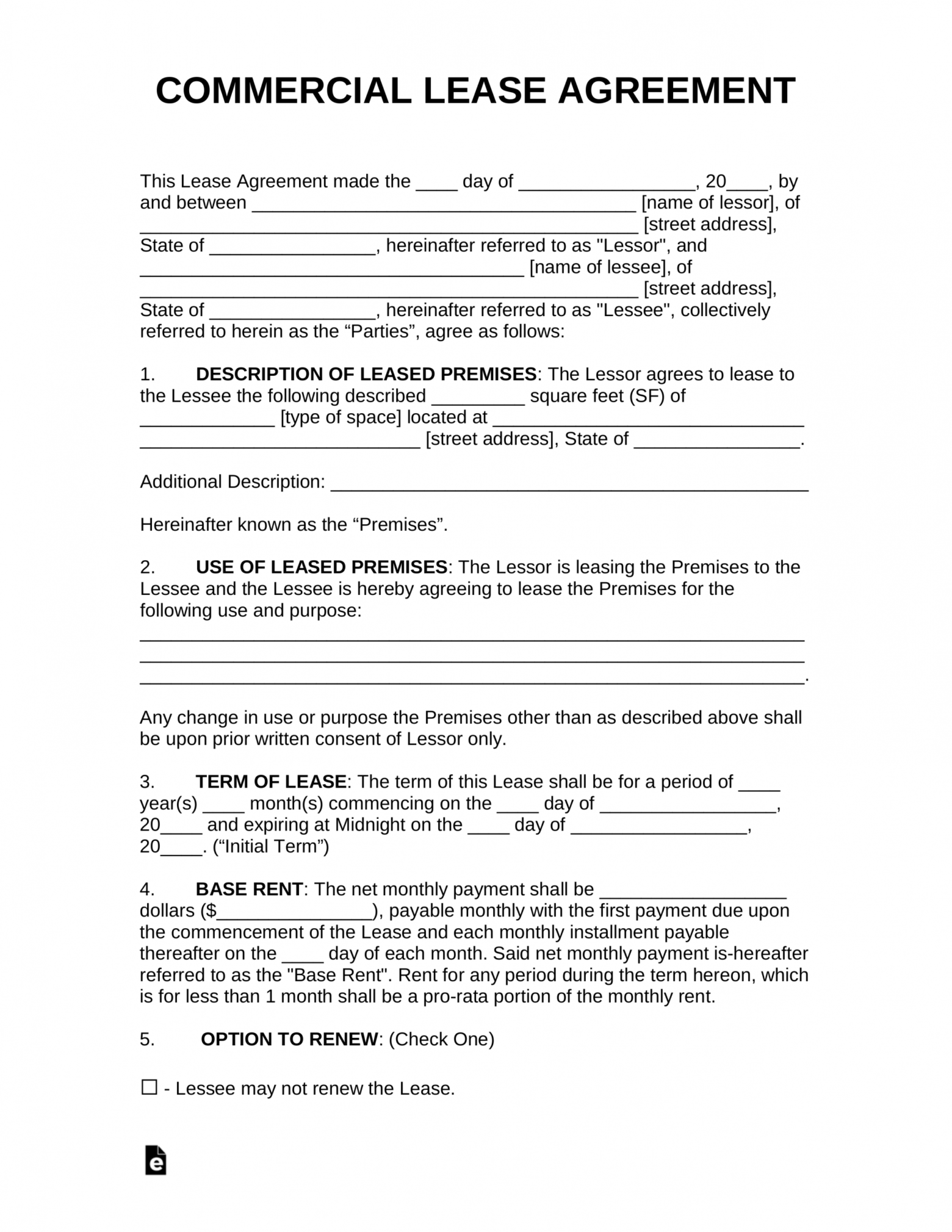 editable free commercial rental lease agreement templates  pdf real estate lease agreement template pdf