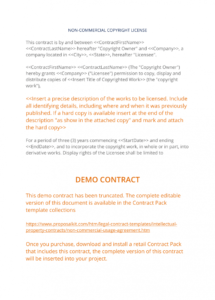 editable noncommercial usage agreement  3 easy steps copyright license agreement template word