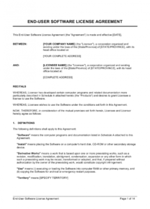 enduser software license agreement template  by business software license agreement template pdf