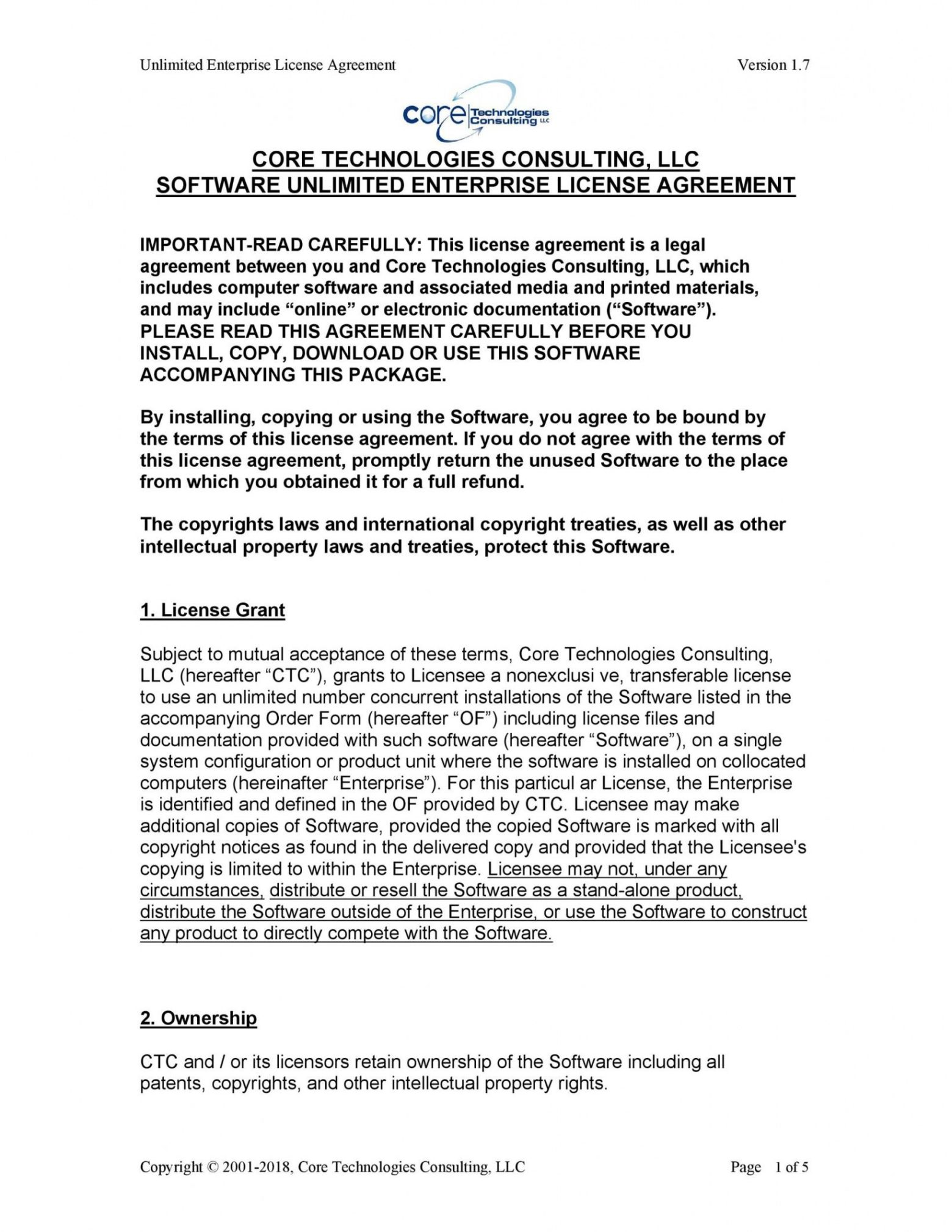 Enterprise License Agreement Template