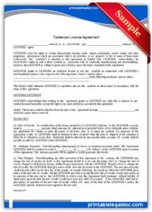 free printable trademark license agreement form generic trademark license agreement template doc
