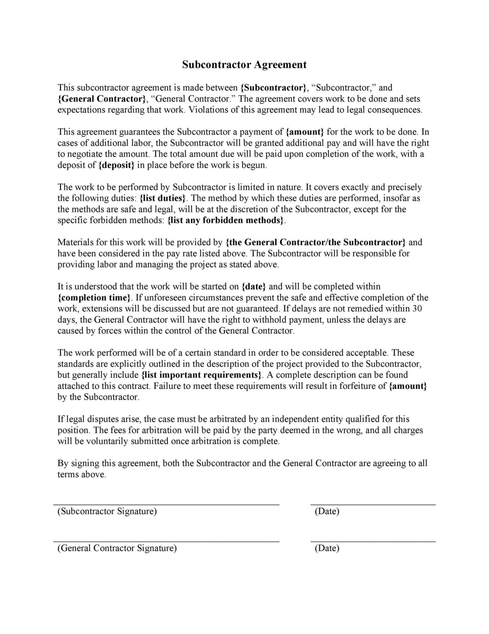printable need a subcontractor agreement? 39 free templates here medical independent contractor agreement template word