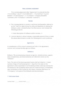 printable software trial license agreement  3 easy steps software license agreement template word