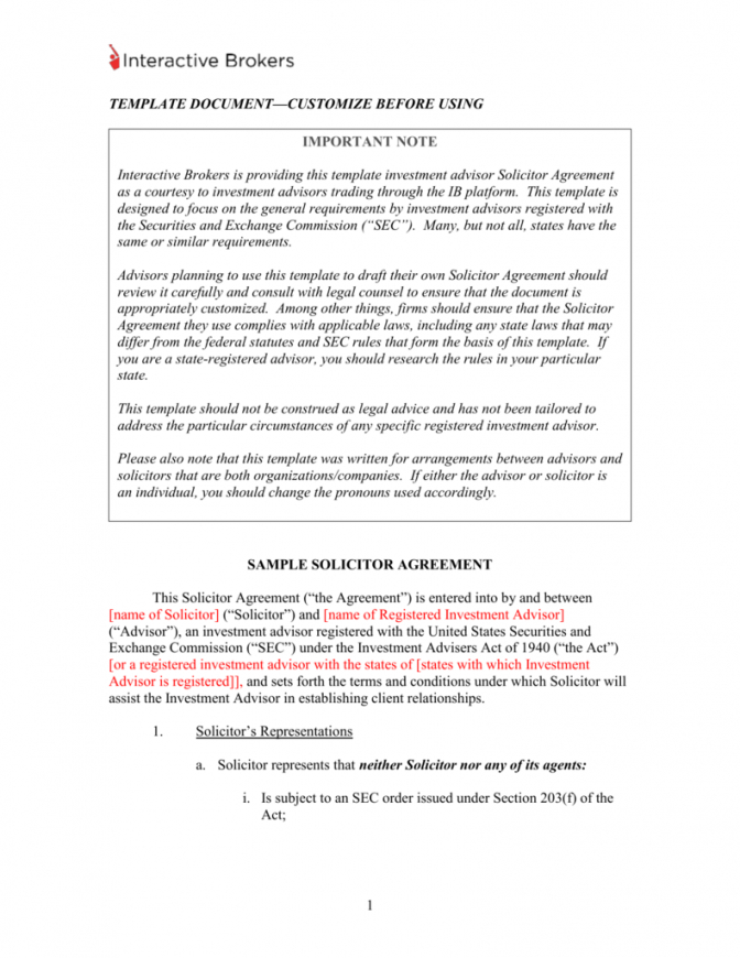 sample sample solicitor agreement and solicitor`s disclosure statement investment advisory agreement template