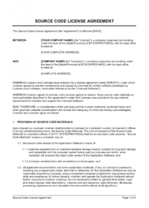 sample source code license agreement short form template  by source code license agreement template word