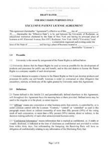 50 professional license agreement templates  templatelab patent license agreement template word