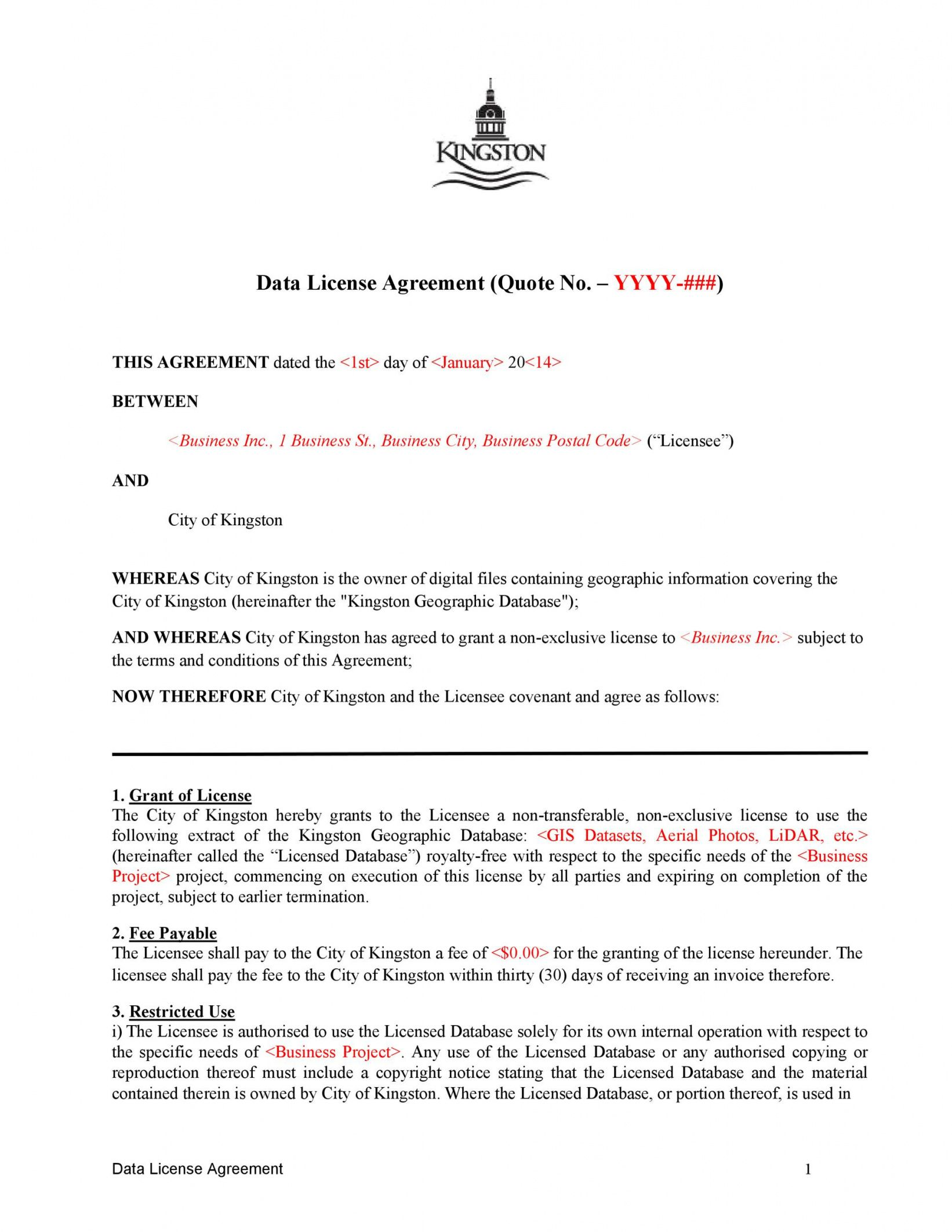 50 professional license agreement templates  templatelab royalty free license agreement template excel