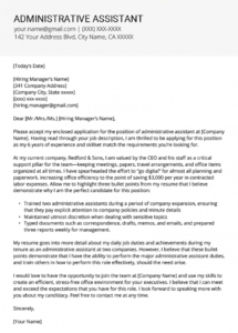 administrative assistant cover letter example & tips admin assistant cover letter template