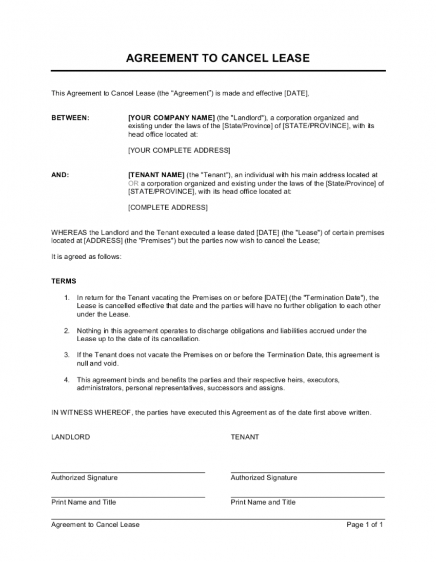 agreement to cancel lease template  by businessinabox™ cancellation of lease agreement template word