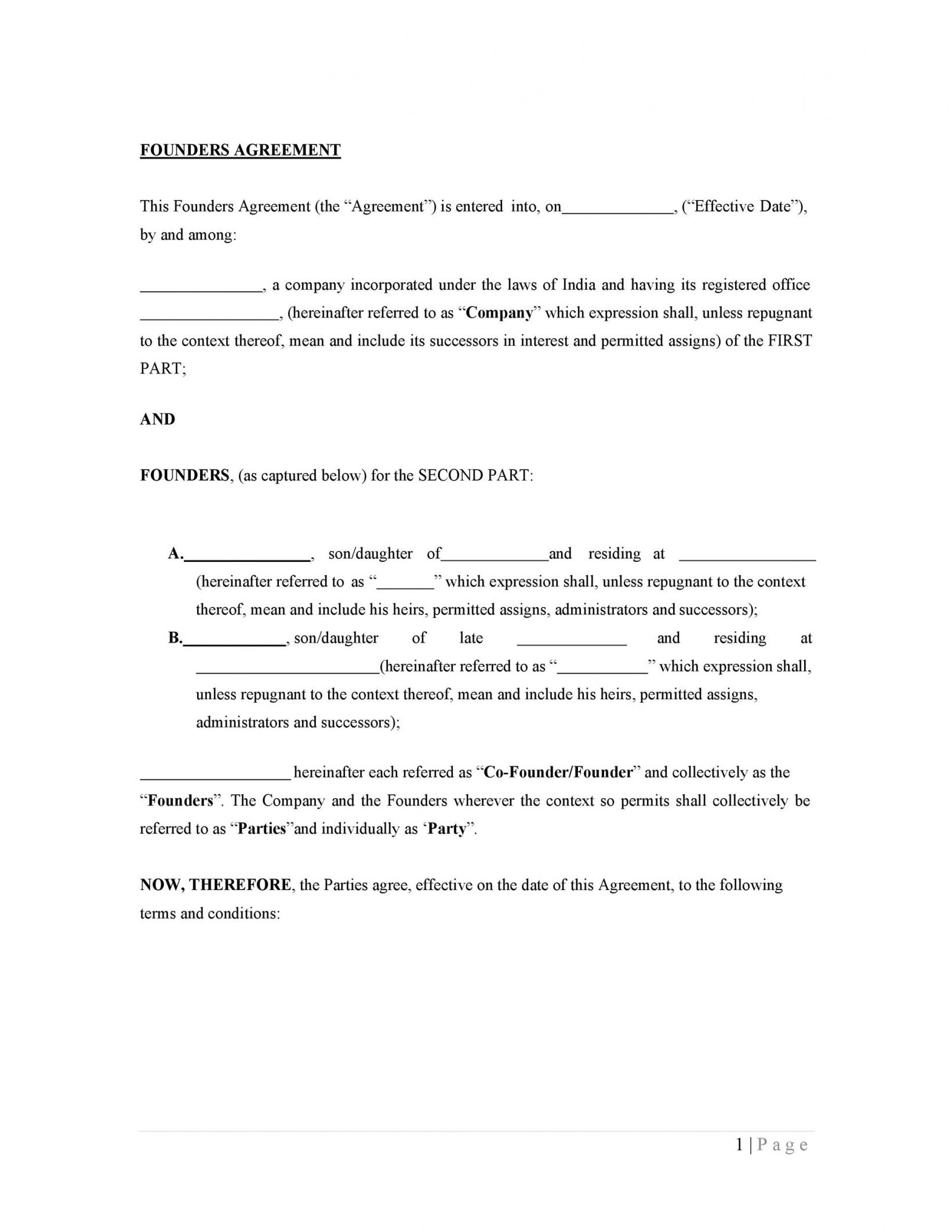 editable 22 great founders agreement tramples for any startup co founder separation agreement template word