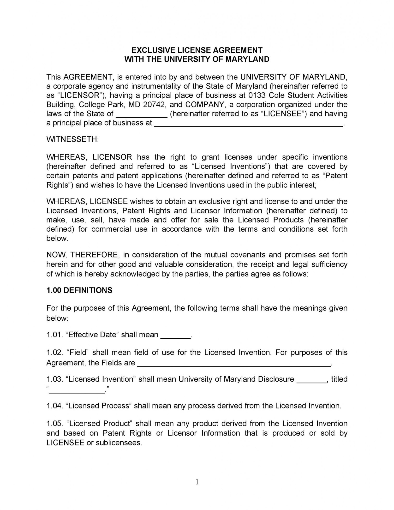 editable 50 professional license agreement templates  templatelab intellectual property license agreement template pdf