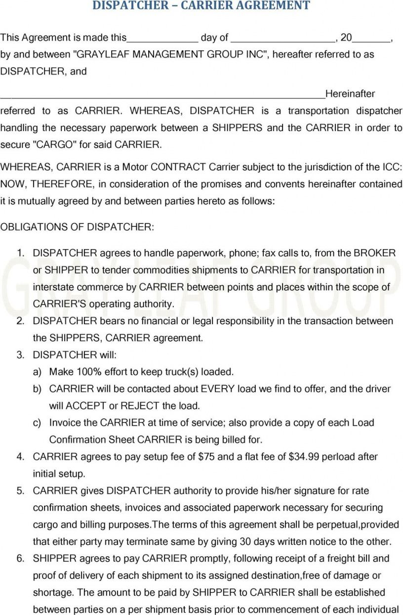 editable dispatcher carrier agreement  pdf free download freight broker agent agreement template doc