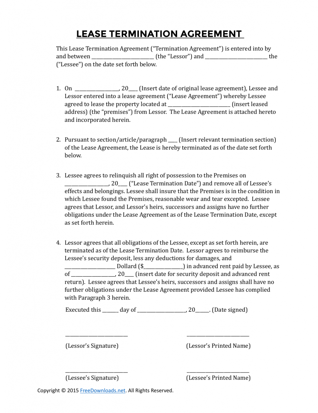 editable download early lease termination agreement  pdf  word cancellation of lease agreement template example