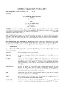 editable film rights acquisition agreement film option agreement template excel