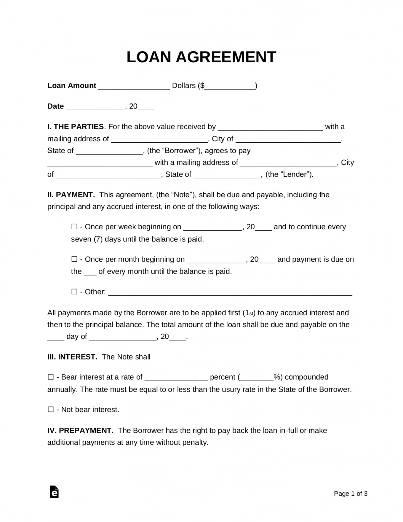 editable free loan agreement templates  pdf  word  eforms  free collateral agreement template doc