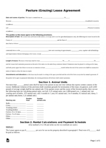 editable free pasture grazing rental lease agreement template  pdf pasture lease agreement template word