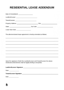 editable free residential lease addendum template  pdf  word addendum to lease agreement template