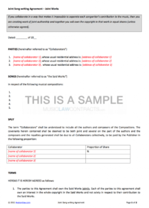 editable joint songwriting contracts x2 music co publishing agreement template