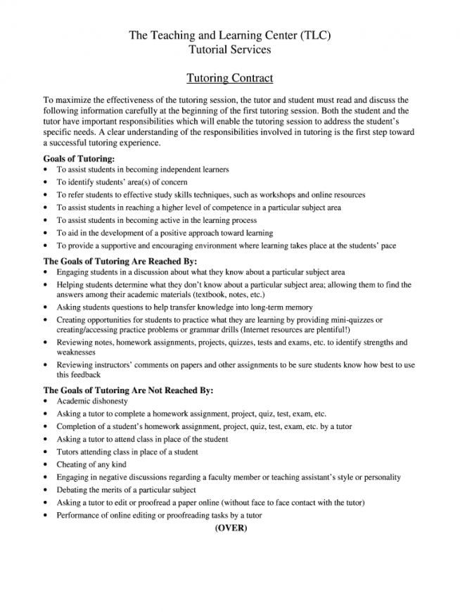 editable tutoring contract  fill online printable fillable blank tutoring agreement template sample
