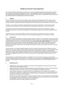 free 50 professional license agreement templates  templatelab royalty free license agreement template pdf