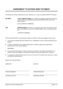 free agreement to extend debt payment template  by businessina debt collection agreement template word