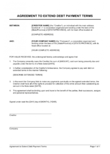 free agreement to extend debt payment terms template  by debt collection agreement template doc