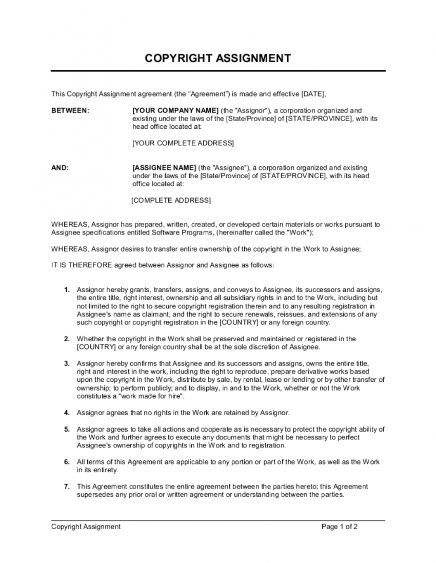 free copyright assignment for software template  by businessin copyright transfer agreement template doc
