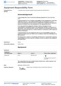 free employee equipment responsibility form free and editable equipment use agreement template word