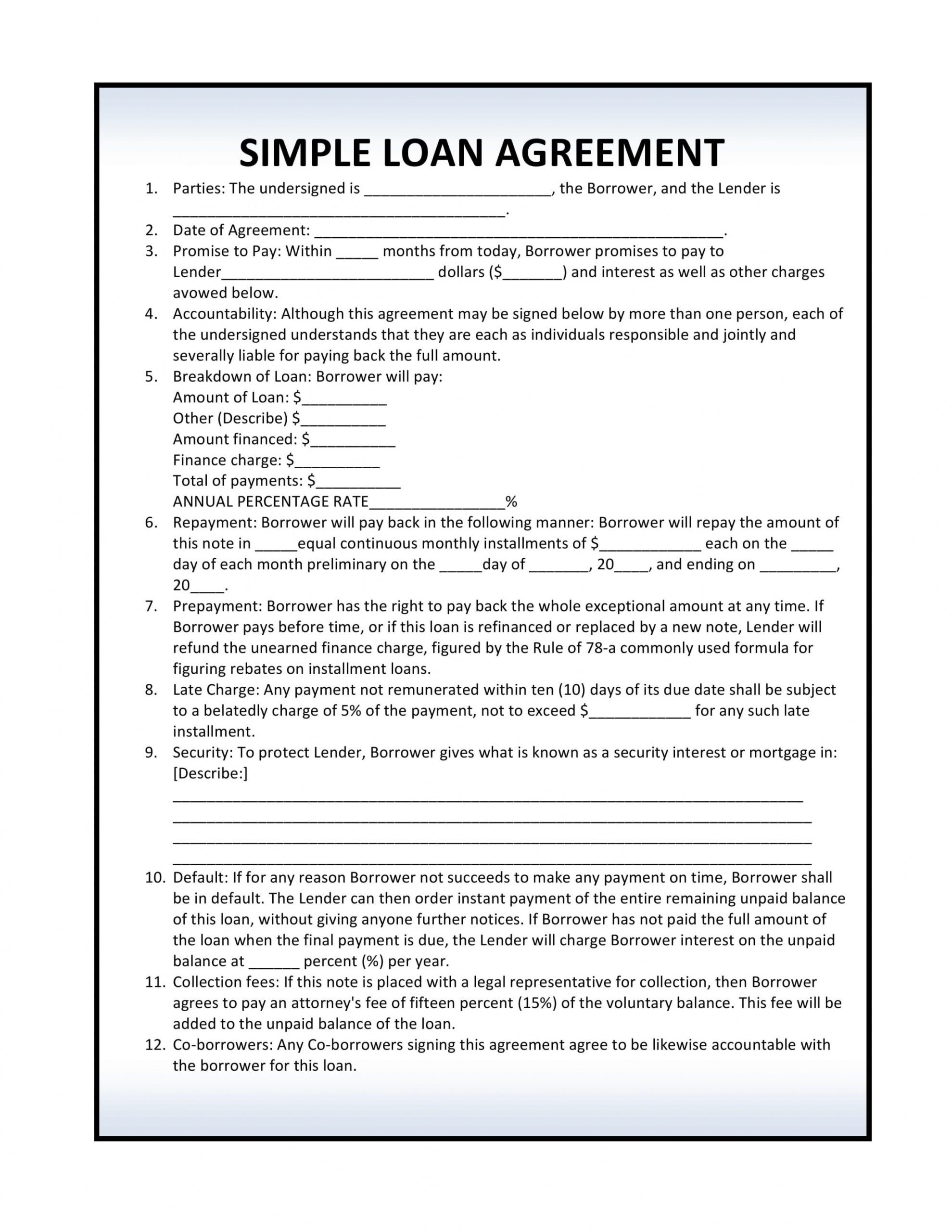 free free loan agreement forms  pdf template  form download art loan agreement template doc