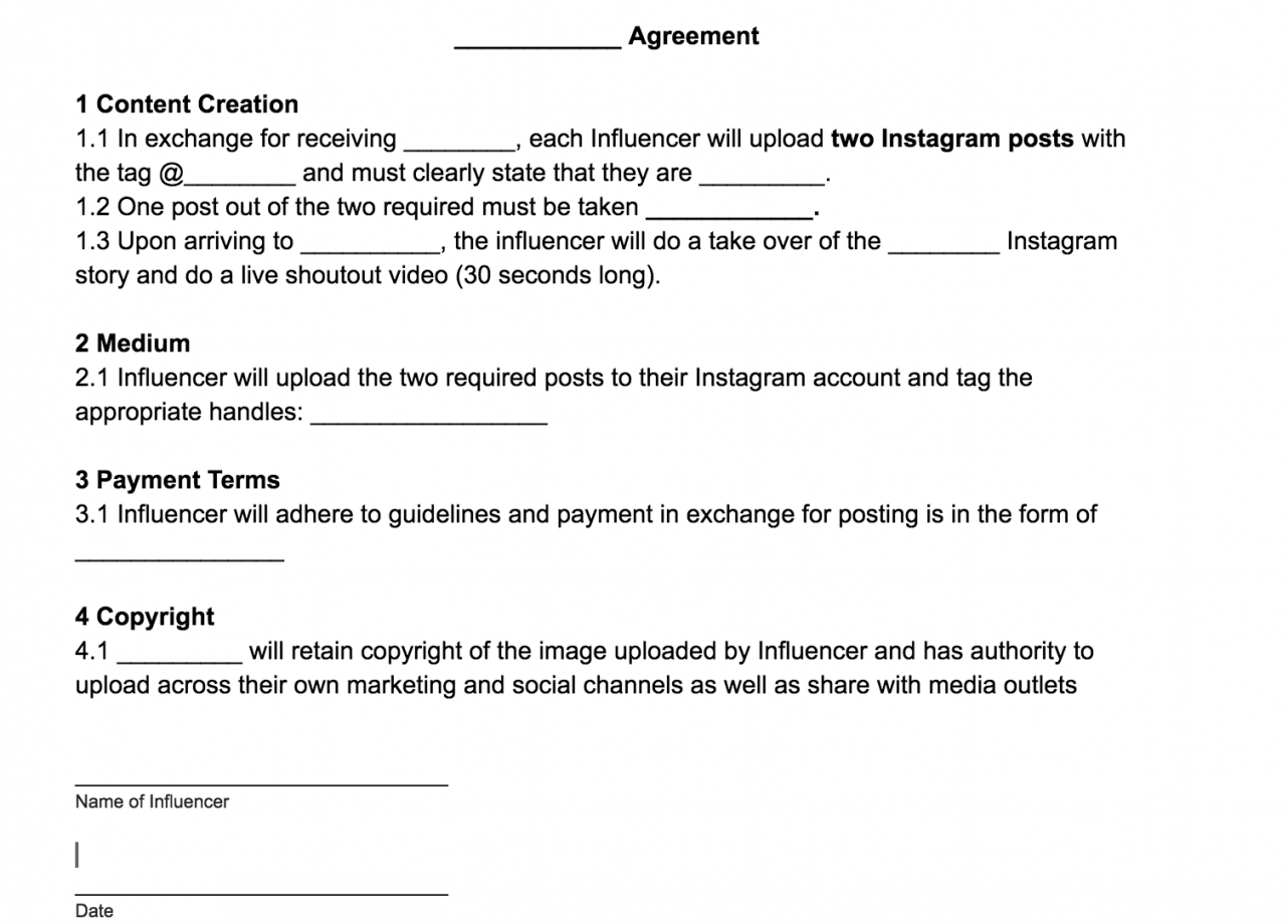 free influencerblogger agreement template free download  by social media influencer agreement template word