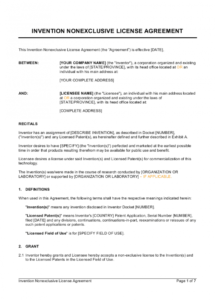free invention nonexclusive license agreement template  by patent license agreement template