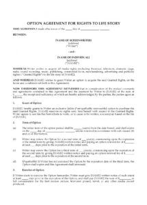 free option agreement for rights to life story film option agreement template