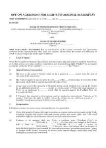 free option agreement for rights to original screenplay film option agreement template doc
