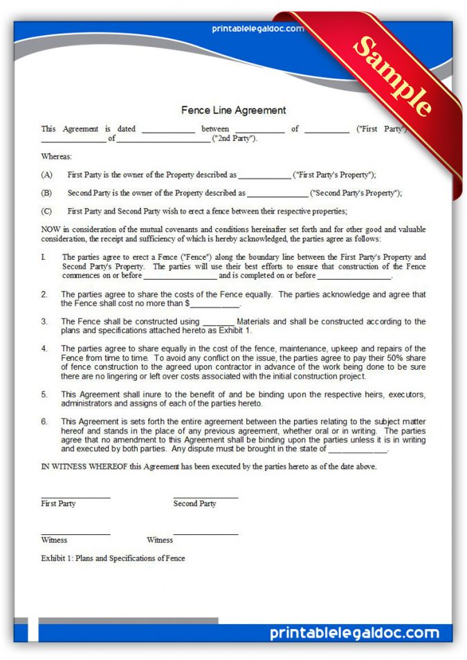 free printable fence line agreement form generic neighbor fence agreement template pdf