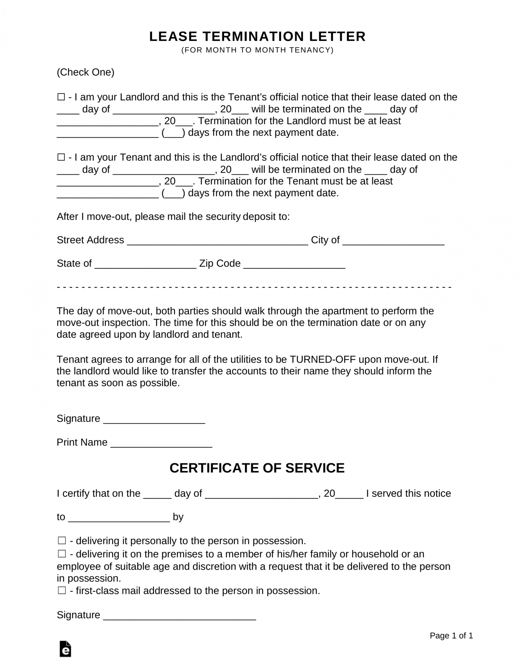 lease termination letters  30day notice to quit for cancellation of lease agreement template example
