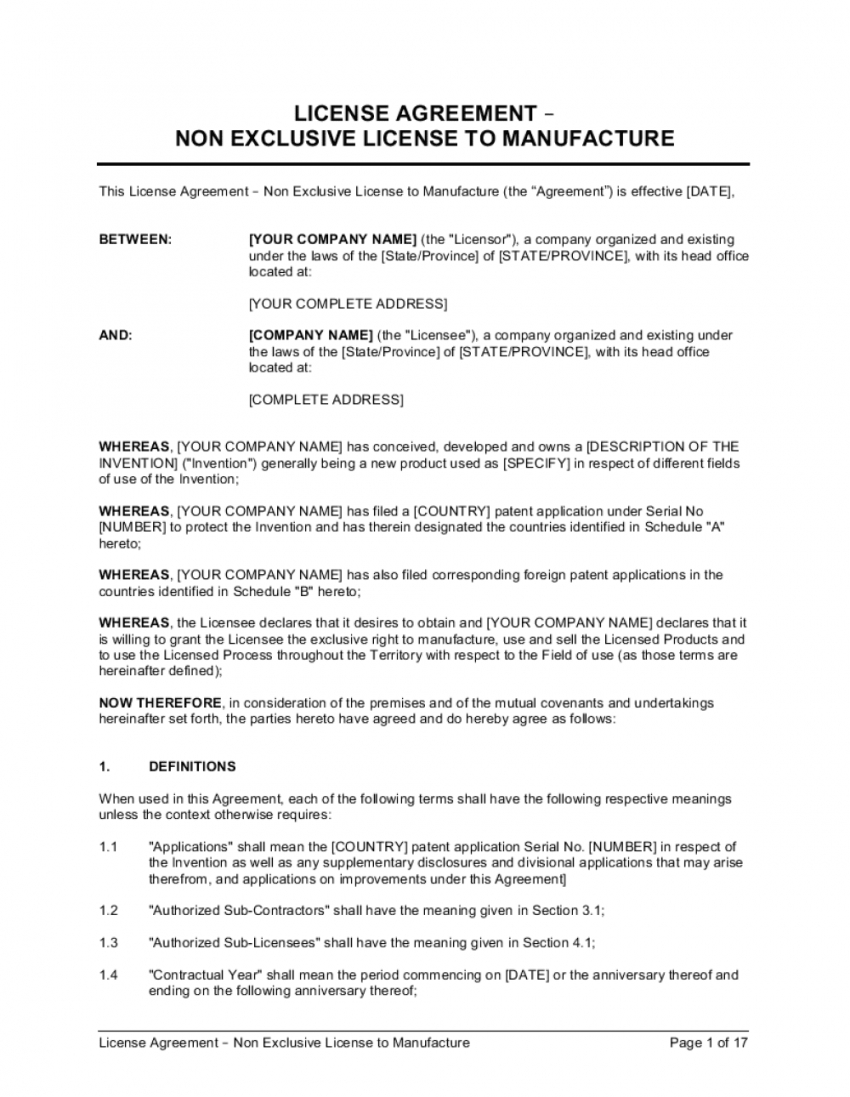 license agreement nonexclusive license to manufacture non exclusive license agreement template sample