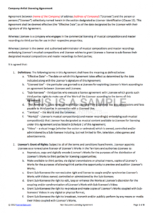 nonexclusive licensing contract music license agreement template doc