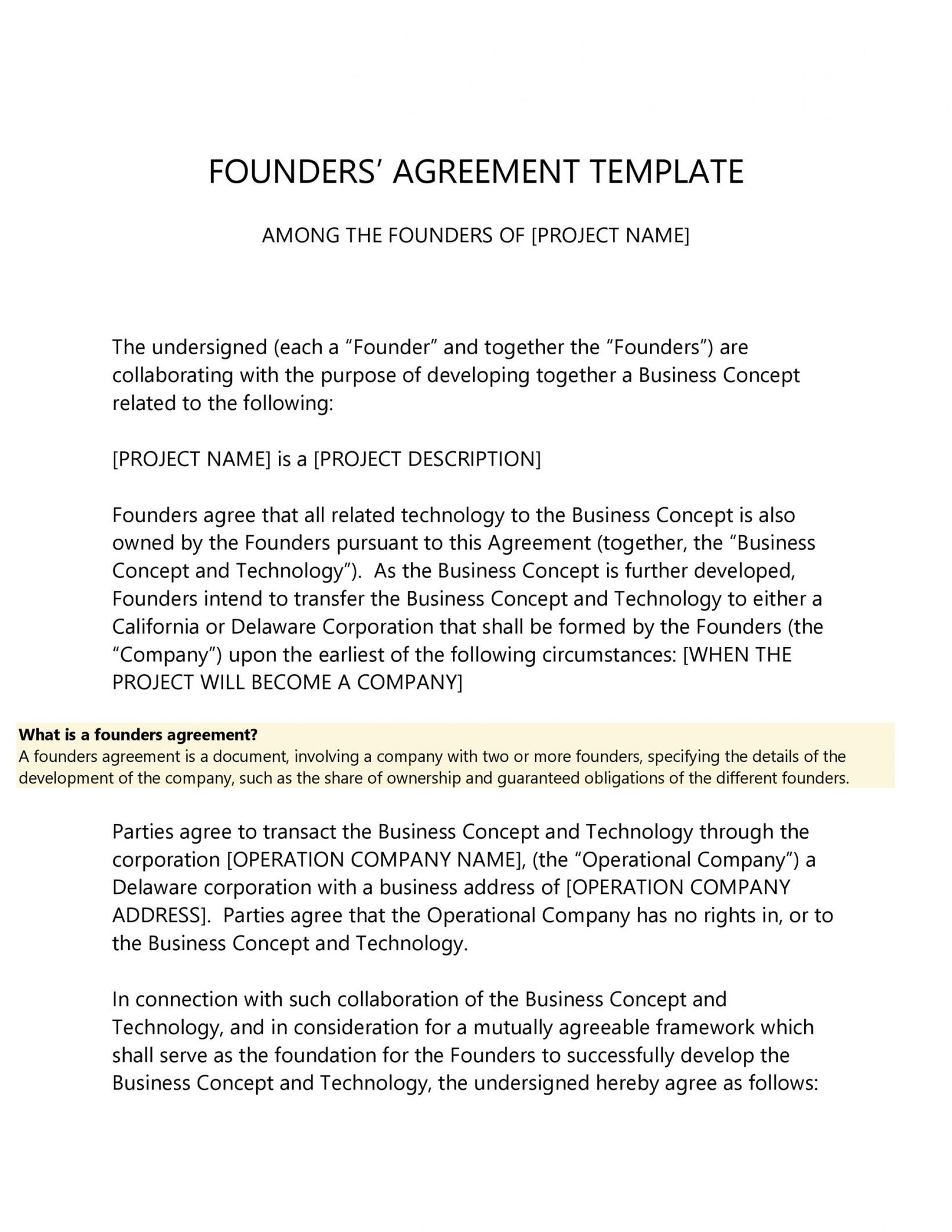printable 22 great founders agreement tramples for any startup co founder separation agreement template word