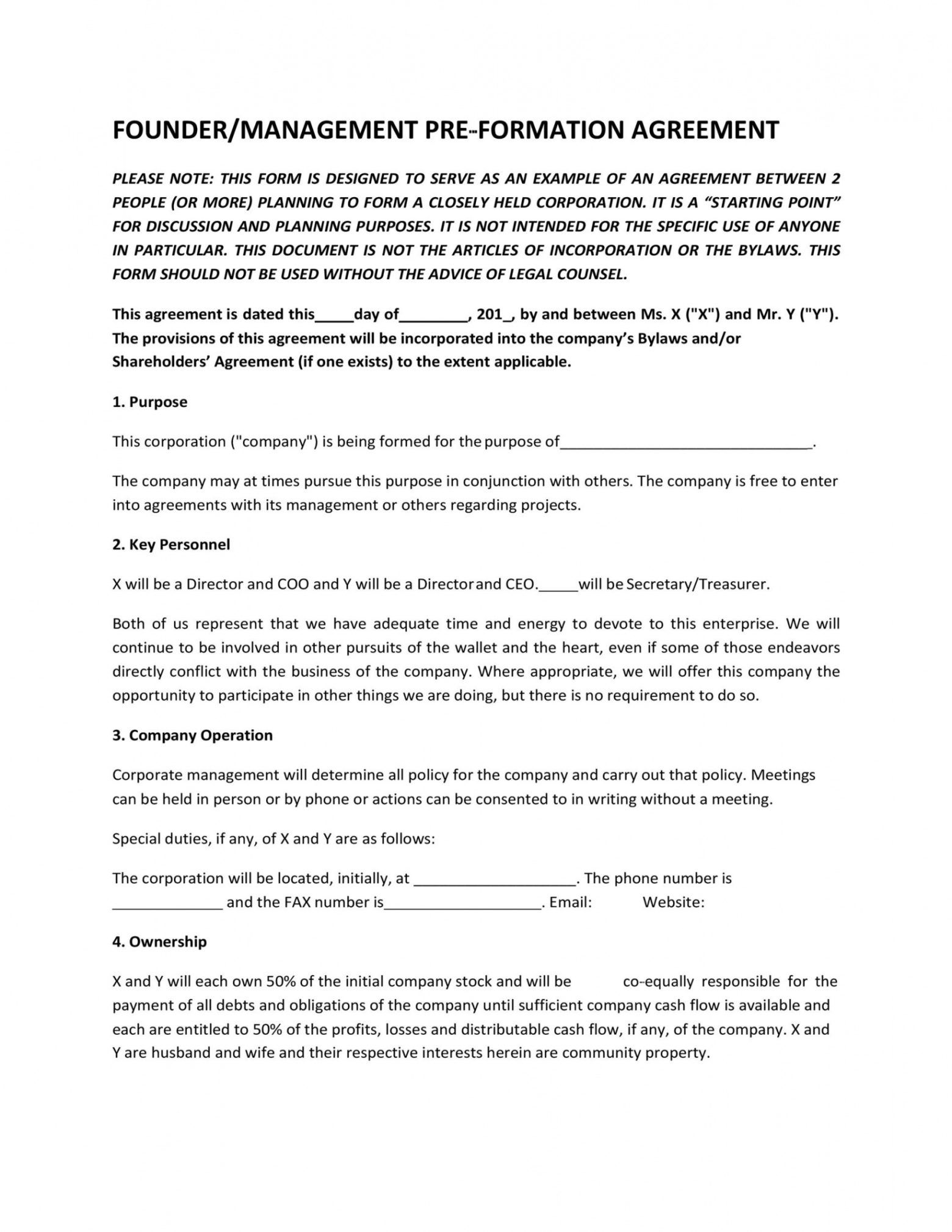 printable 22 great founders agreement tramples for any startup founder vesting agreement template doc