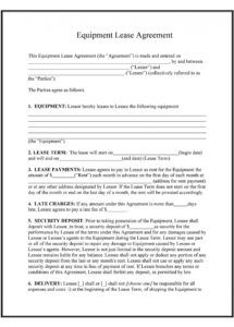 printable 44 simple equipment lease agreement templates  templatelab equipment use agreement template doc